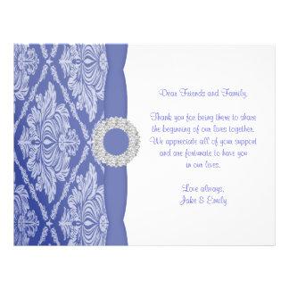 Beau faire-part bleu de damassé prospectus 21,6 cm x 24,94 cm