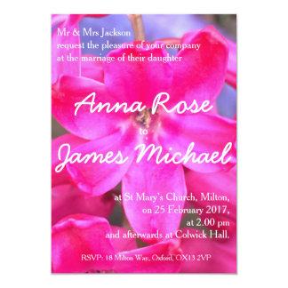 Beau faire-part de mariage rose de fleur