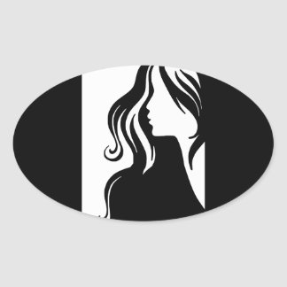 beau femelle de fille de portrait de la femme stickers ovales