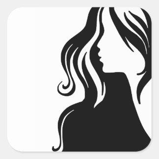 beau femelle de fille de portrait de la femme autocollants carrés