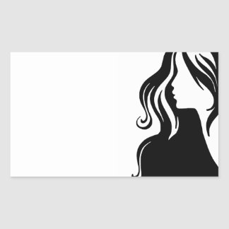 beau femelle de fille de portrait de la femme autocollants rectangulaires