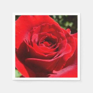 Beau floral de fleur lumineuse de rose rouge serviette jetable
