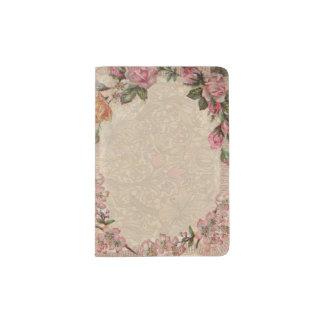 Beau Girly d'antiquité florale vintage de roses Protège-passeport