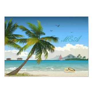 Beau jour/invitation tropical de mariage de plage carton d'invitation  12,7 cm x 17,78 cm