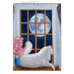 Beau la carte de chat de lune