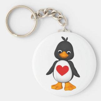 Beau le porte - clé de pingouin porte-clé rond