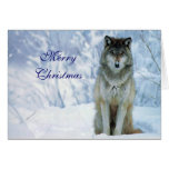 Beau loup dans la carte de Noël faite sur commande