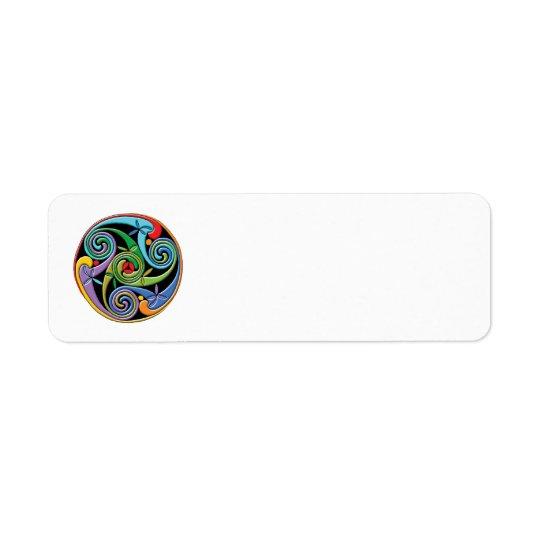 Beau mandala celtique avec des remous colorés étiquette d'adresse retour