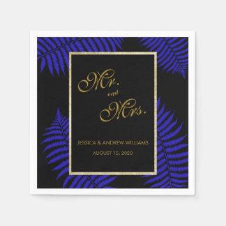 Beau mariage bleu de fougère de feuille serviette en papier