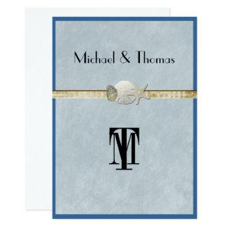Beau, mariage de plage, étoile de mer, or carton d'invitation  12,7 cm x 17,78 cm