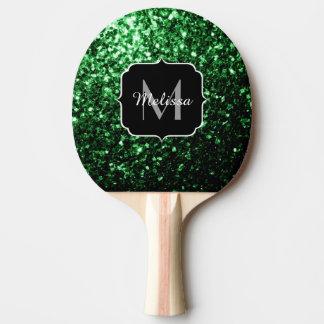 Beau monogramme d'étincelles de scintillement de raquette tennis de table