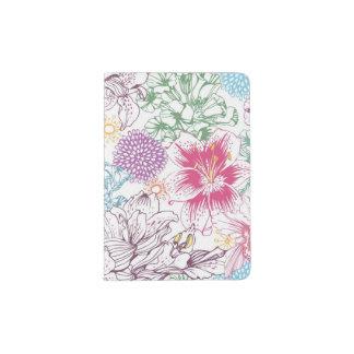 Beau motif avec les fleurs colorées protège-passeports