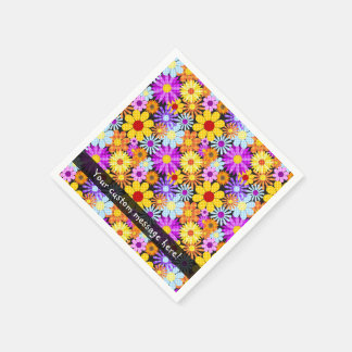 Beau motif de Collectiion de fleur de plaid Serviette Jetable