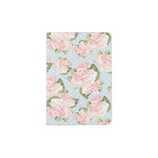 Beau motif de rose avec le pois bleu protège-passeports