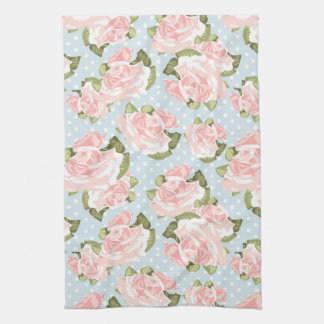 Beau motif de rose avec le pois bleu serviette pour les mains