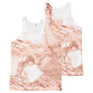 Beau motif rose de marbre de Faux d'étincelle d'or Débardeur Tout-imprimé