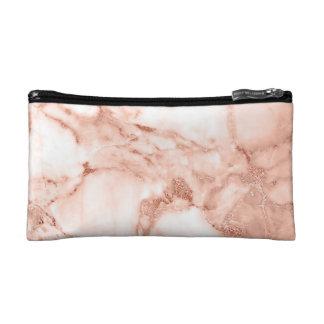 Beau motif rose de marbre d'étincelle d'or petite trousse de maquillage