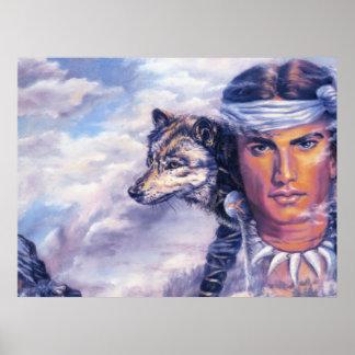 Beau Natif américain avec le loup Posters