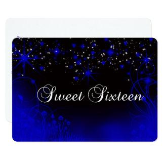 Beau néon bleu, étoiles, invitation du bonbon 16