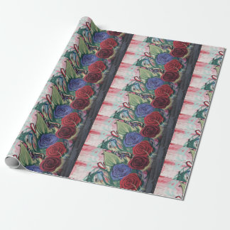 Beau papier d'emballage avec les roses rouges et papier cadeau