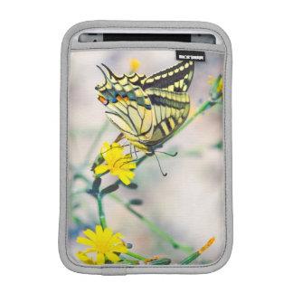 Beau papillon et petites fleurs jaunes housse iPad mini