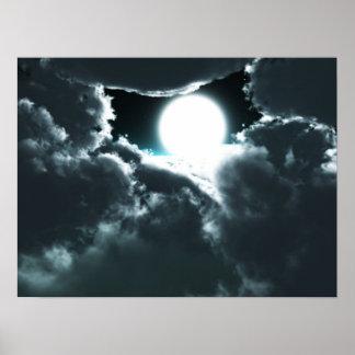 Beau paysage de nuit de lune poster