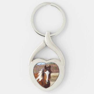 Beau porte - clé de coeur de cheval de peinture porte-clé argenté cœur torsadé