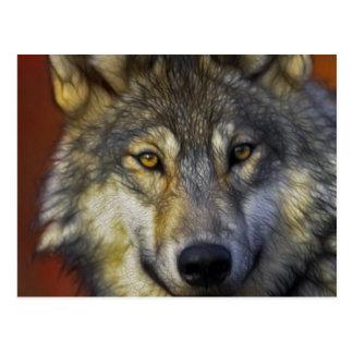 Beau portrait artistique de loup gris carte postale