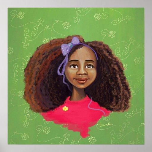 Beau portrait de fille d'Afro-américain Affiche