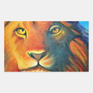 Beau portrait de tête de lion majestueux et fier sticker rectangulaire