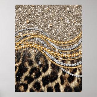 Beau poster de animal à la mode de faux de léopard