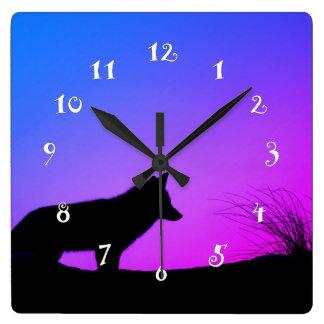 Beau renard, fin, belle horloge murale