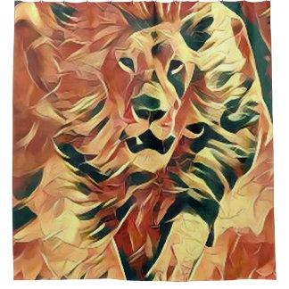 Beau rideau en douche d'art de lion