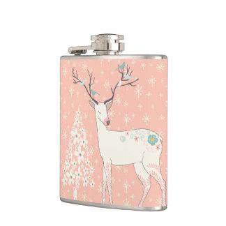 Beau rose de renne et de flocons de neige flasques