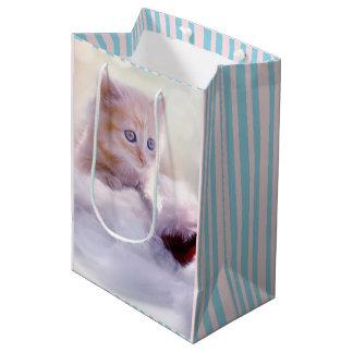 Beau sac de cadeau de chaton de Noël
