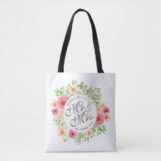 Beau sac fourre-tout à M. et à Mme Floral Wedding