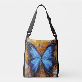 Beau sac fourre-tout bleu vibrant à papillon
