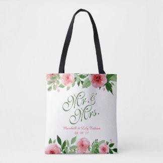 Beau sac fourre-tout floral personnalisé à mariage