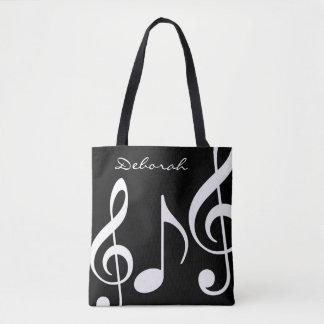 beau sac fourre-tout noir/blanc avec les notes