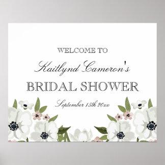 Beau signe nuptiale floral de douche posters