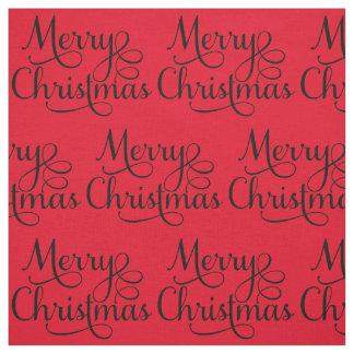 Beau texte de manuscrit de Joyeux Noël Tissu