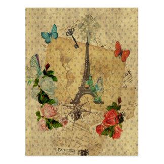 Beau Tour Eiffel vintage de collage de cartes