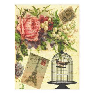 Beau Tour Eiffel vintage girly de fleurs de roses Carte Postale
