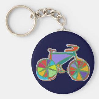 beau vélo coloré d'art porte-clé rond