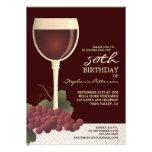 Beau vin et cinquantième invitation d'anniversaire