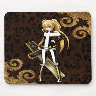 Beauté d'Anime de la croix - brocards d'or sur le  Tapis De Souris