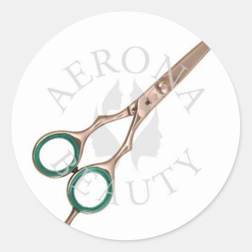 Beauté de Ciseaux-Aerona de coiffure Autocollants Ronds