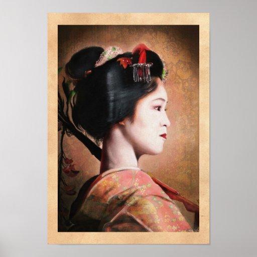 Beauté de geisha - peinture japonaise orientale fr posters