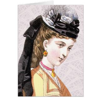 Beauté d'Epoche de belle dans un chapeau Carte De Vœux