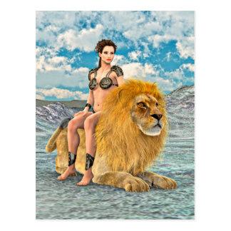 Beauté et lion cartes postales